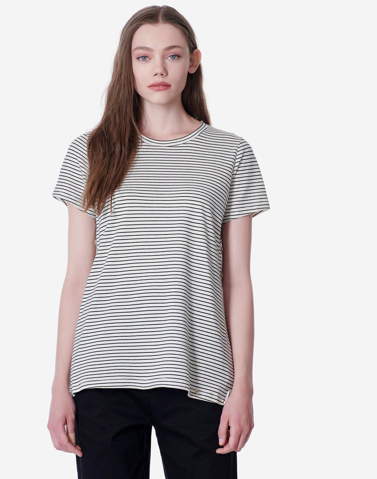 Ριγέ μπλούζα με κουμπιά