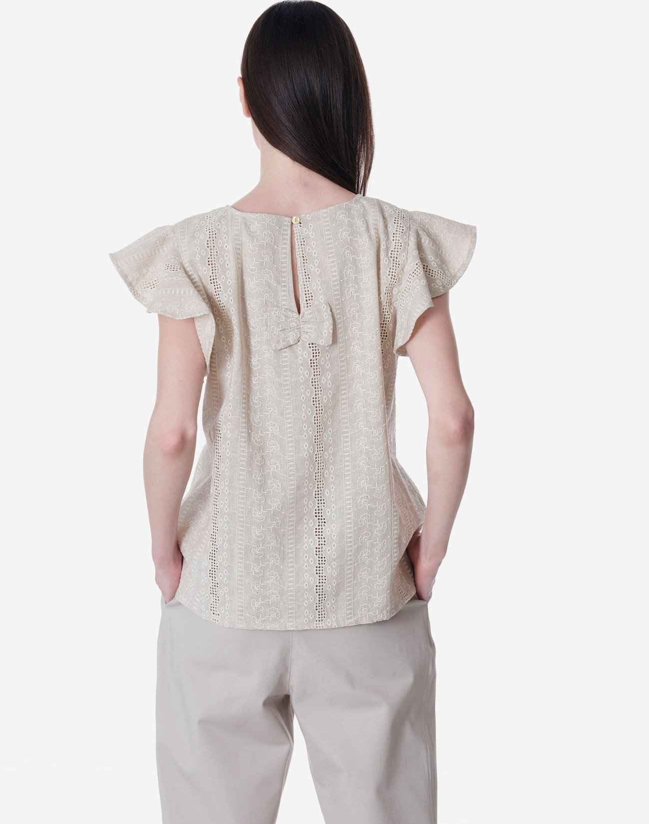 Broderie top with bow