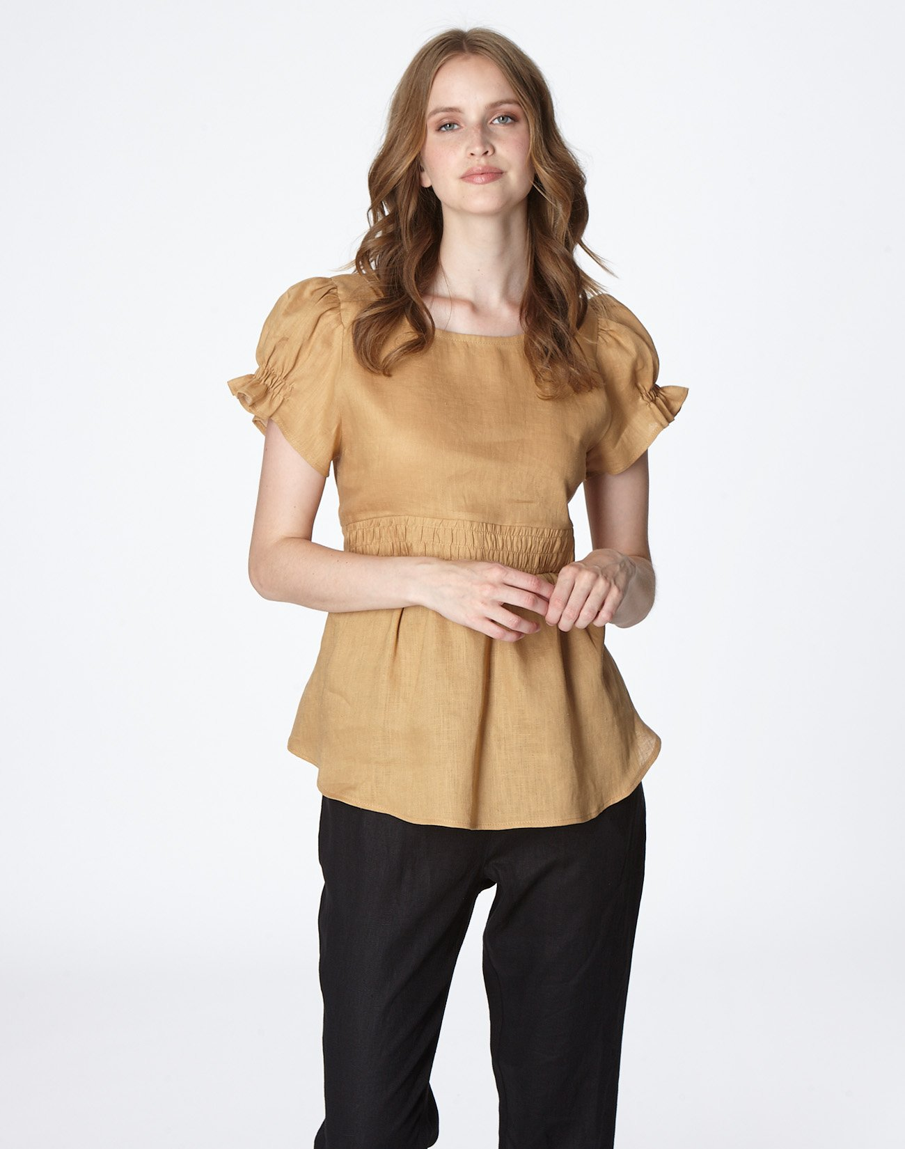Linen top with bow