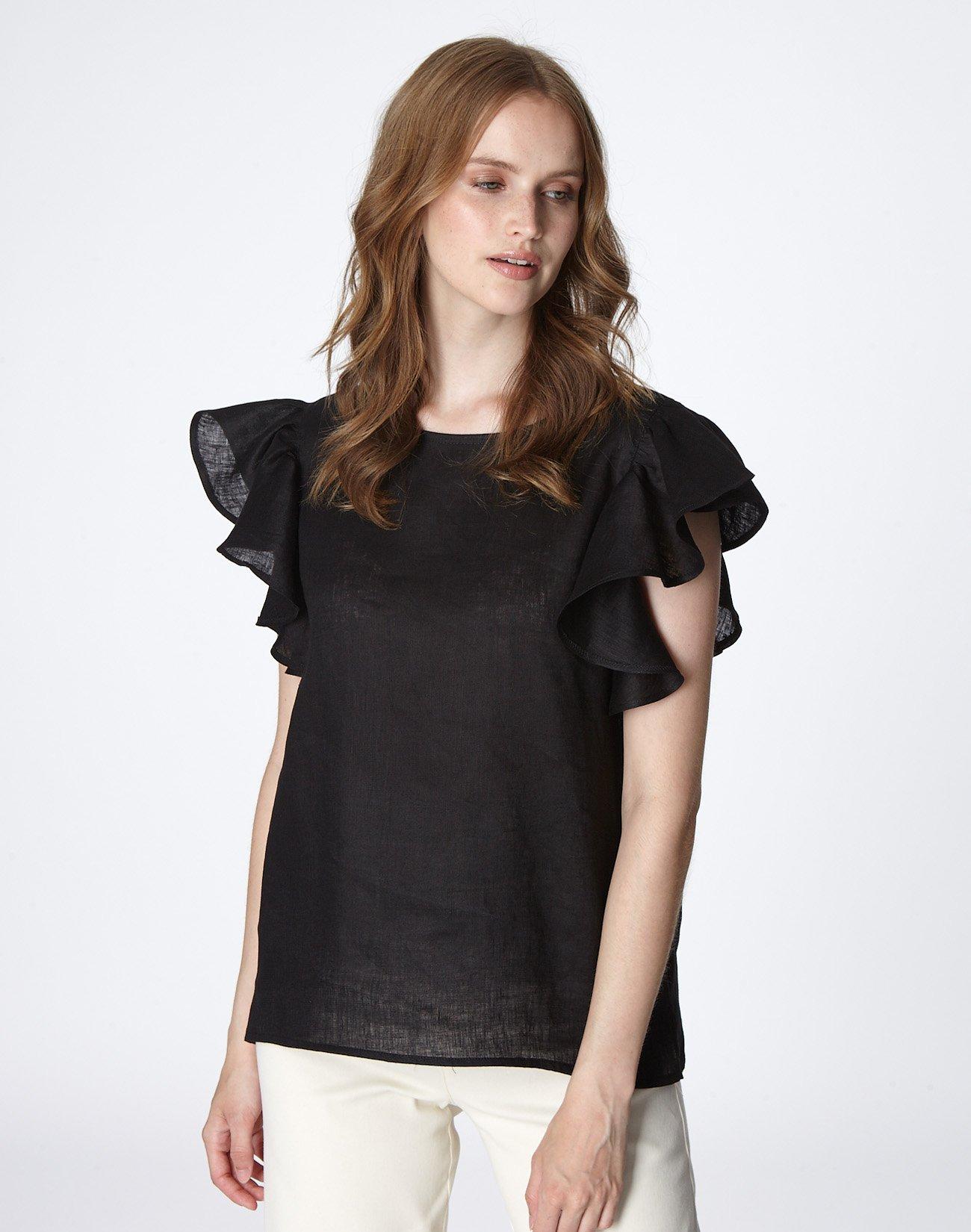 Λινή μπλούζα με βολάν