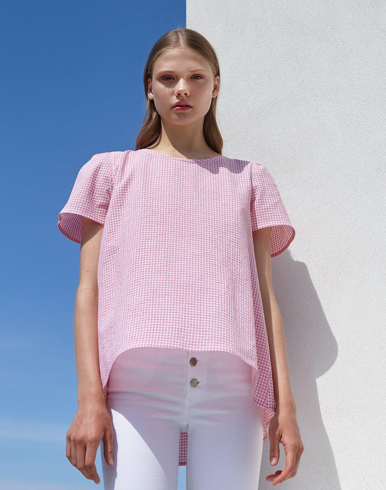 Καρό μπλούζα με φιόγκο