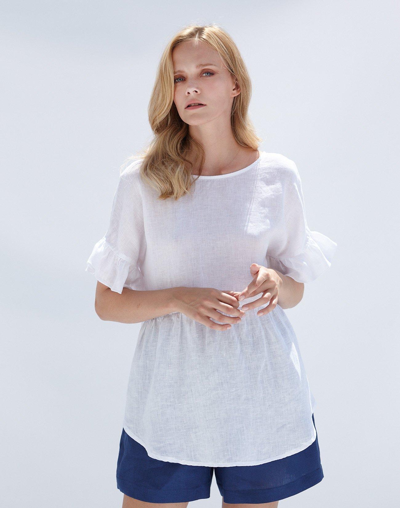 Linen top with ruffles