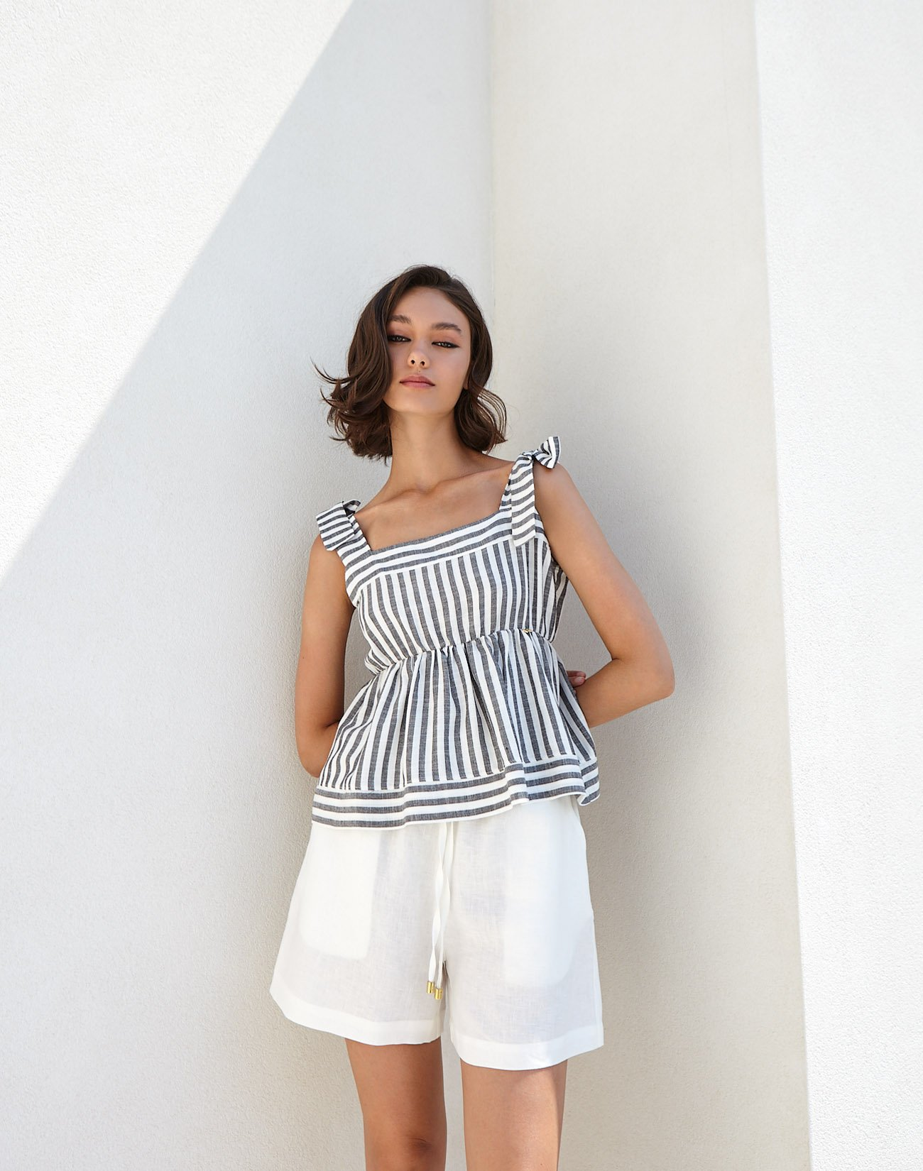 Striped top with tie straps