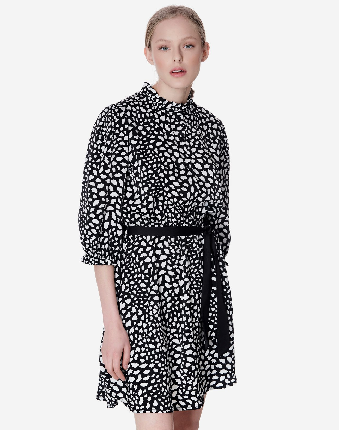 Printed dress with high neck