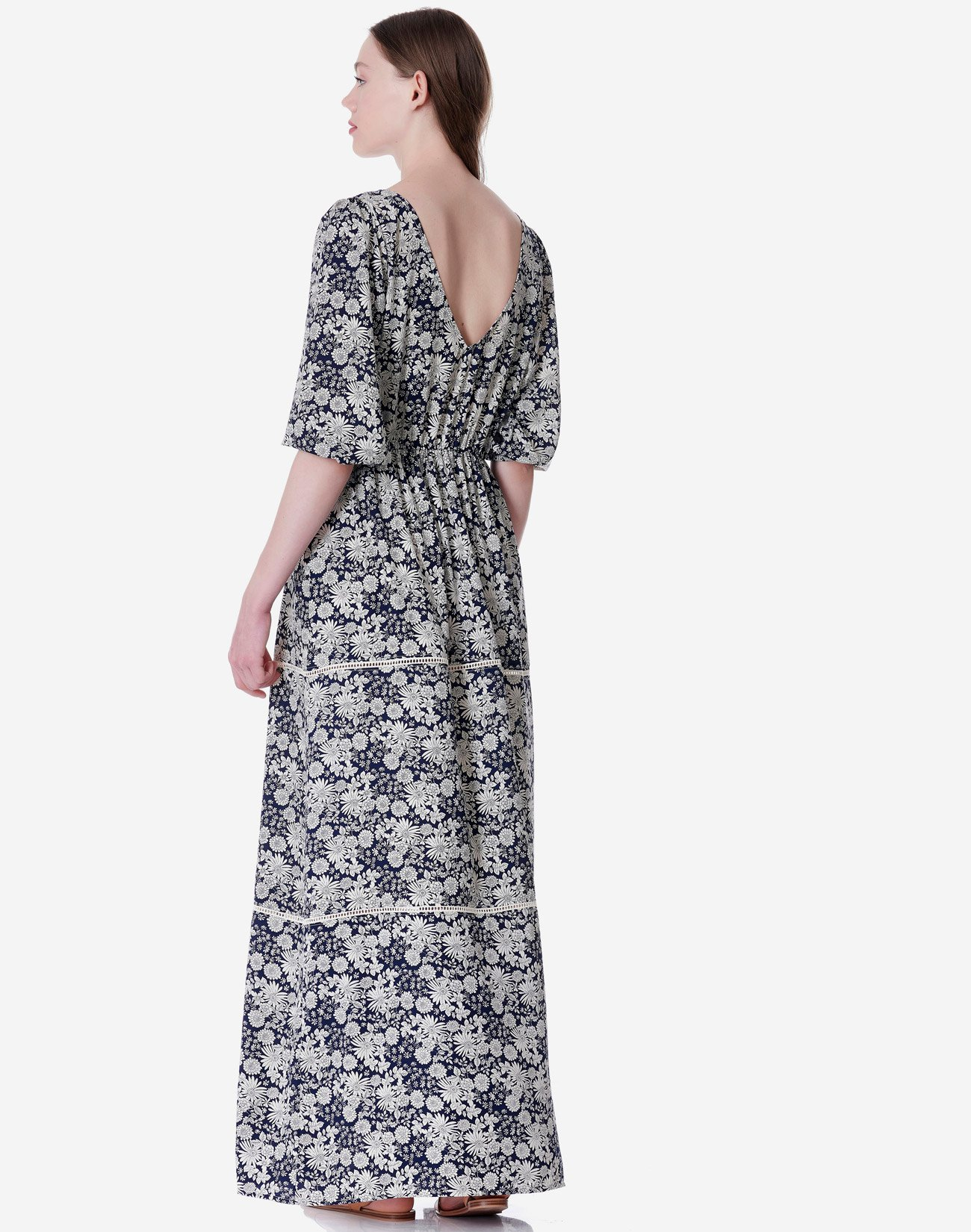 Printed maxi dress with buttons