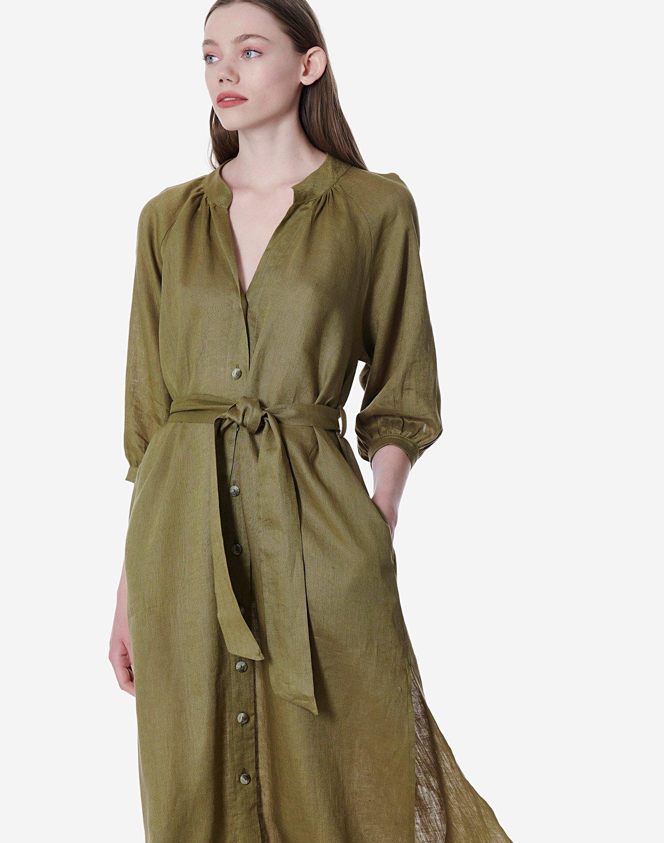 Λινό σεμιζιέ φόρεμα