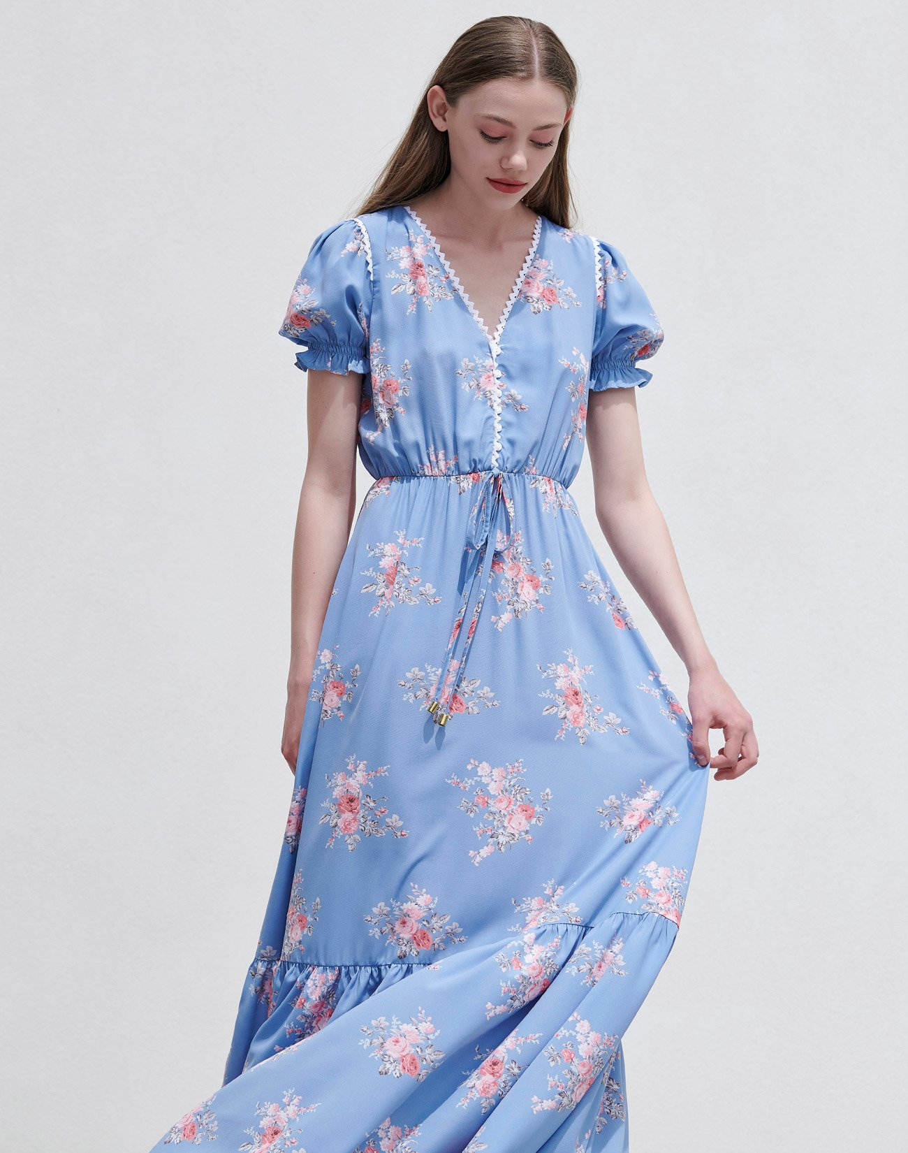 Printed maxi dress with lace