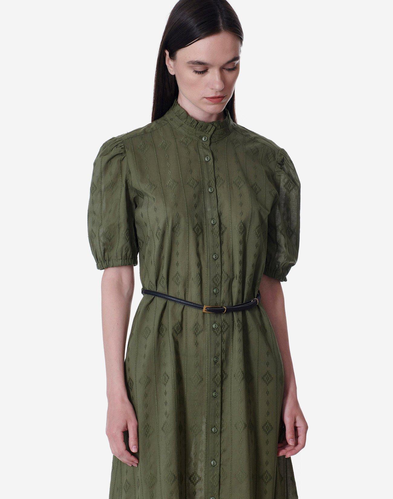Midi dress with cutwork detail