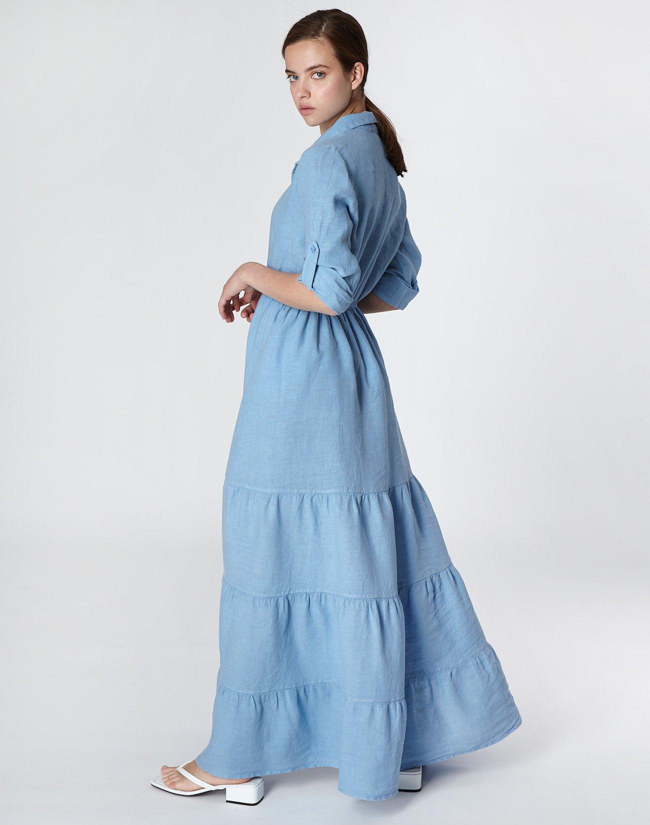 Λινό φόρεμα με βολάν