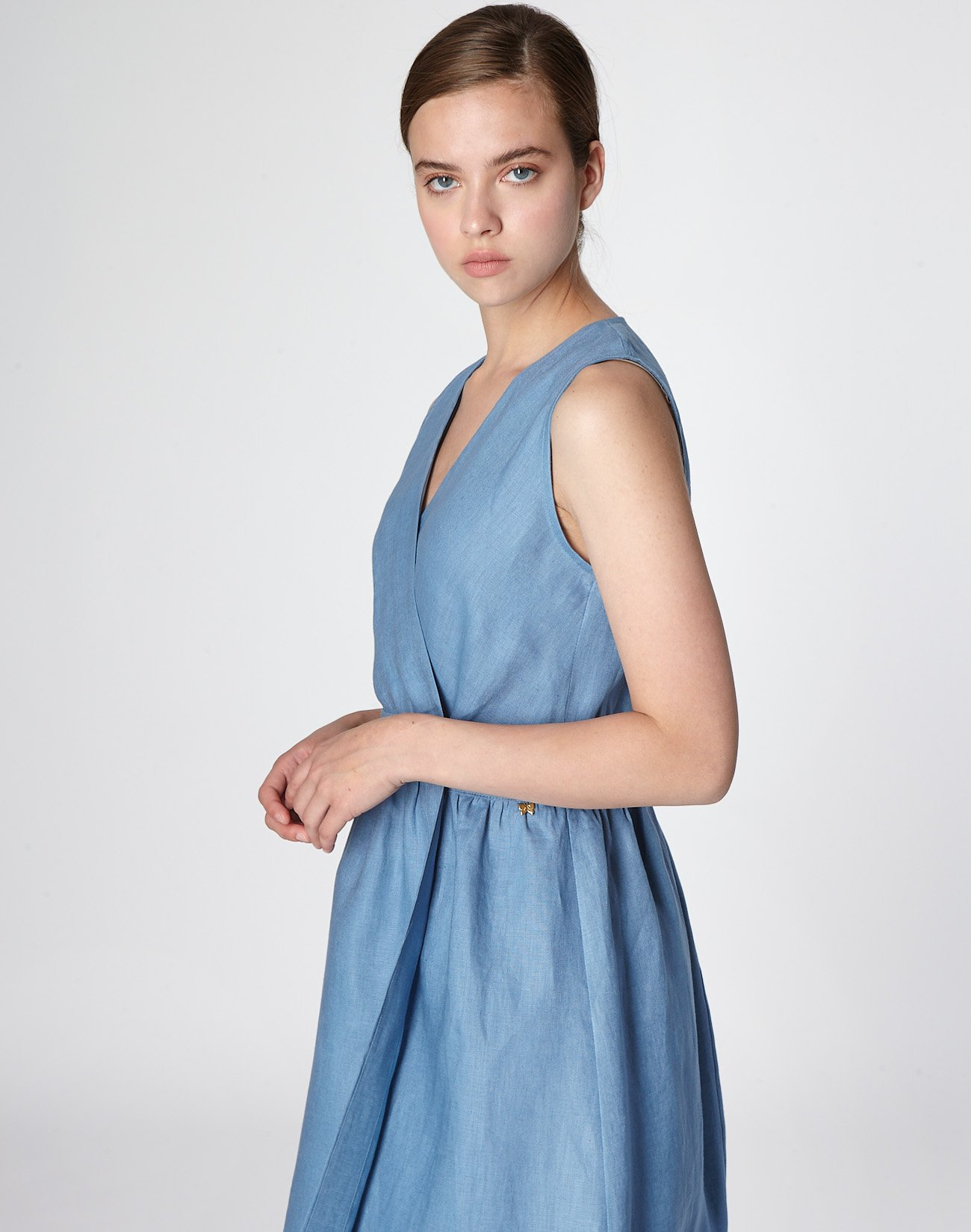 Midi wrap linen dress