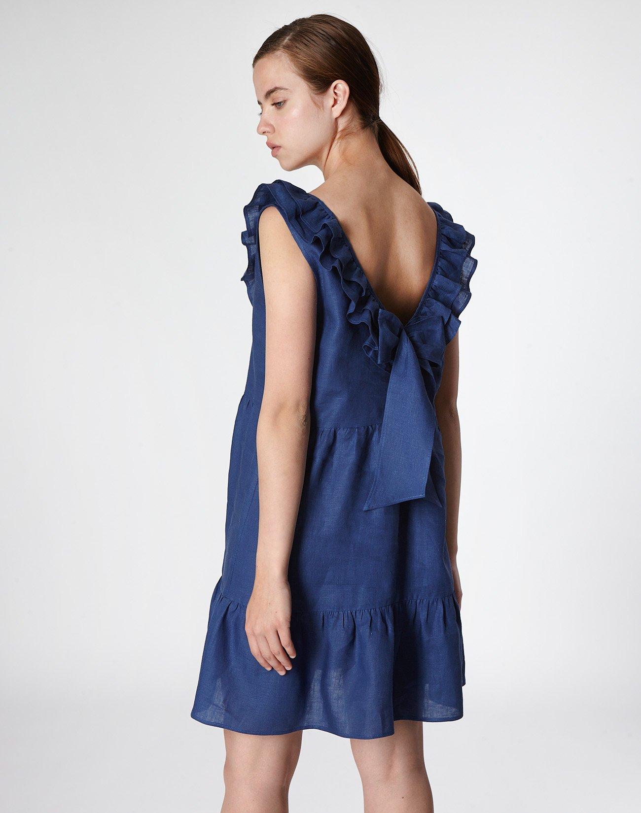 Μίνι λινό φόρεμα με βολάν και φιόγκο