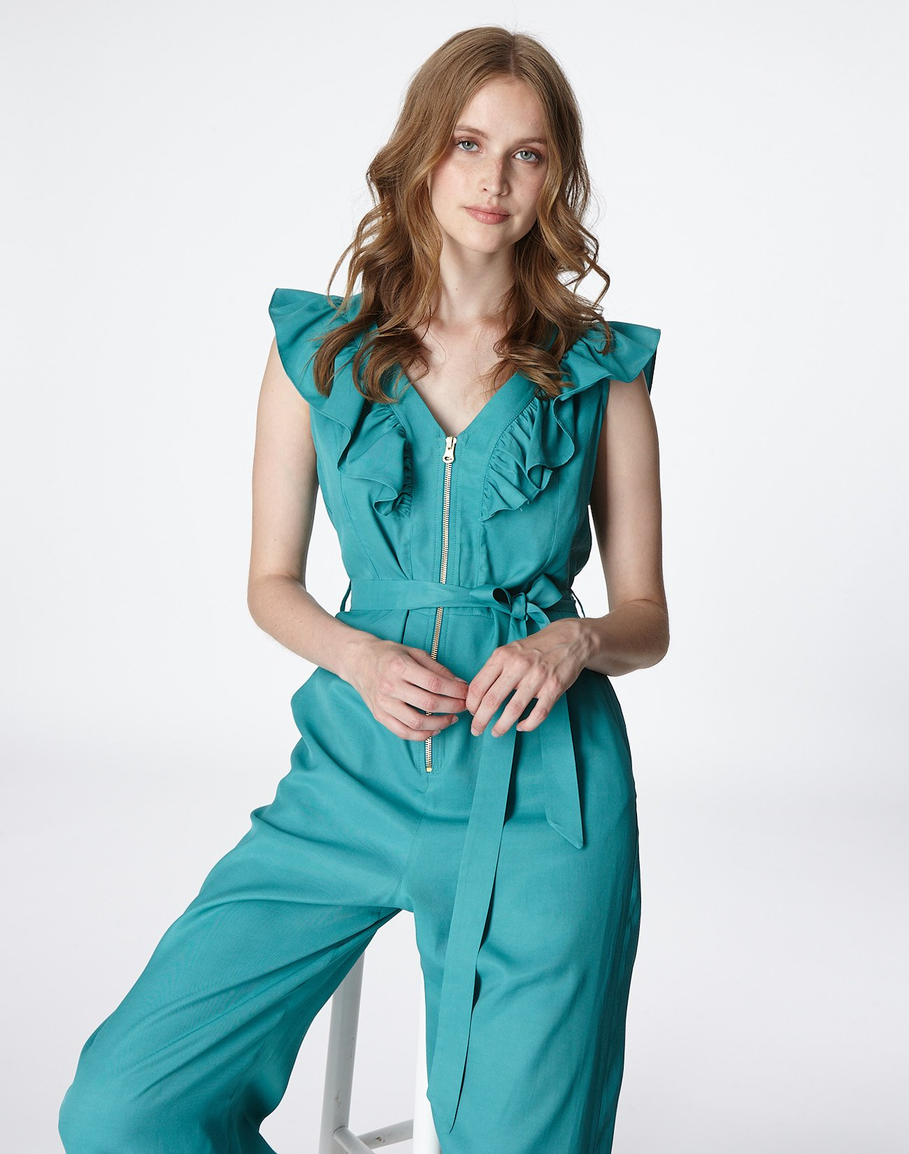 Jumpsuit with ruffles and zip