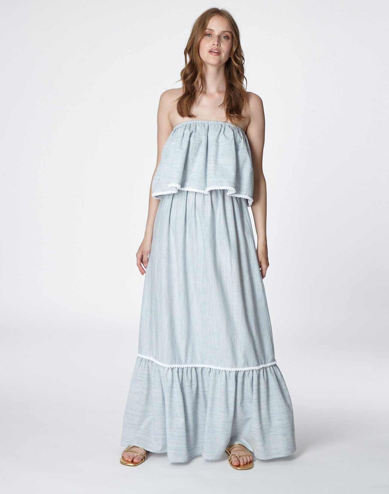 Μάξι στράπλες φόρεμα με πον πον