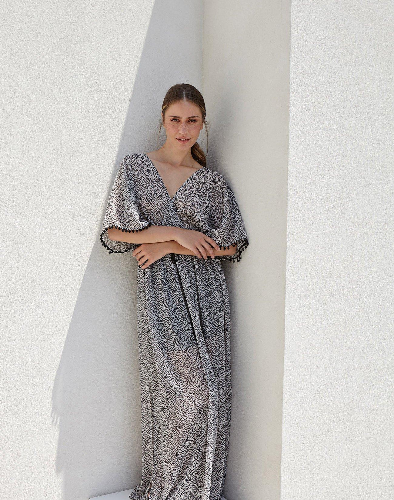 Εμπριμέ κρουαζέ μάξι φόρεμα