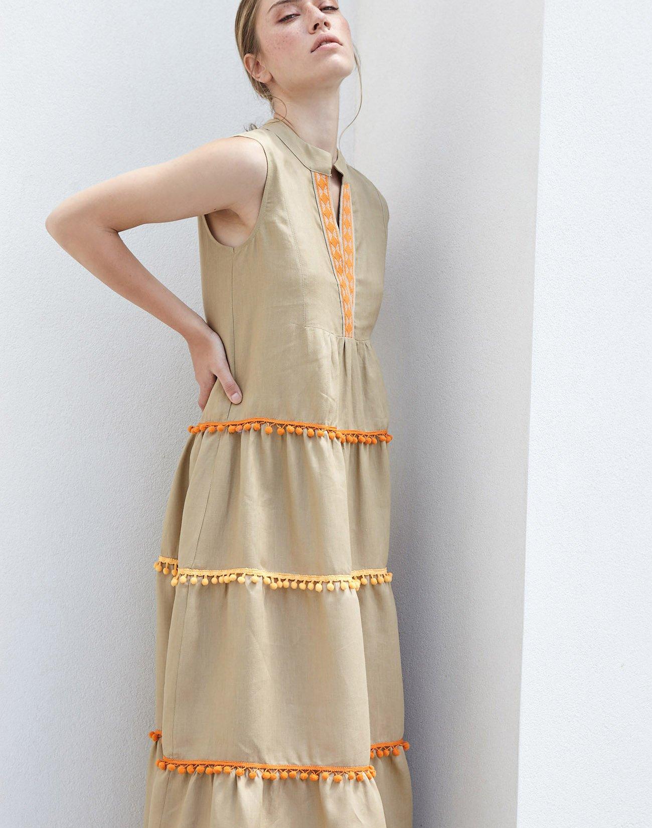 Λινό μάξι φόρεμα με πον πον