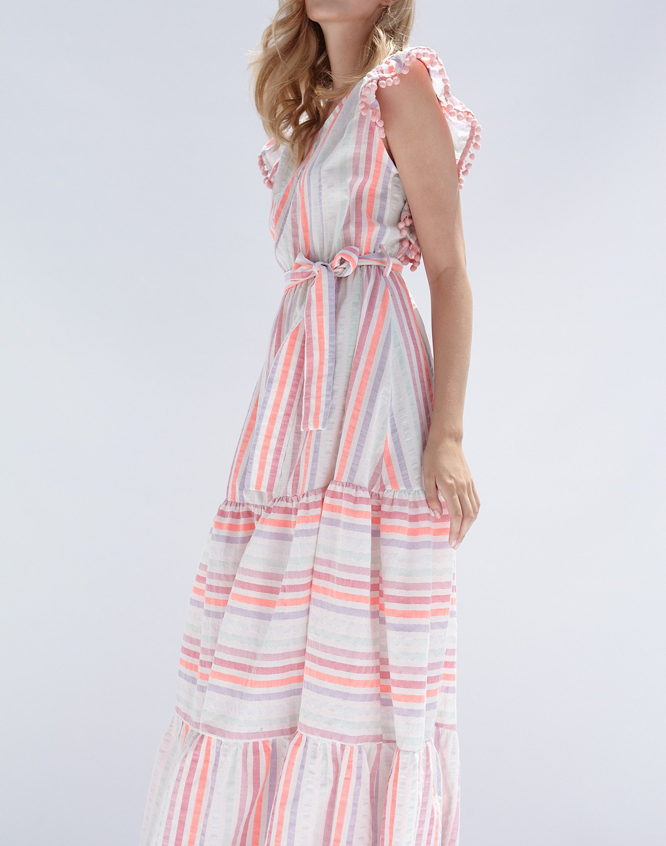 Striped maxi dress with pom poms