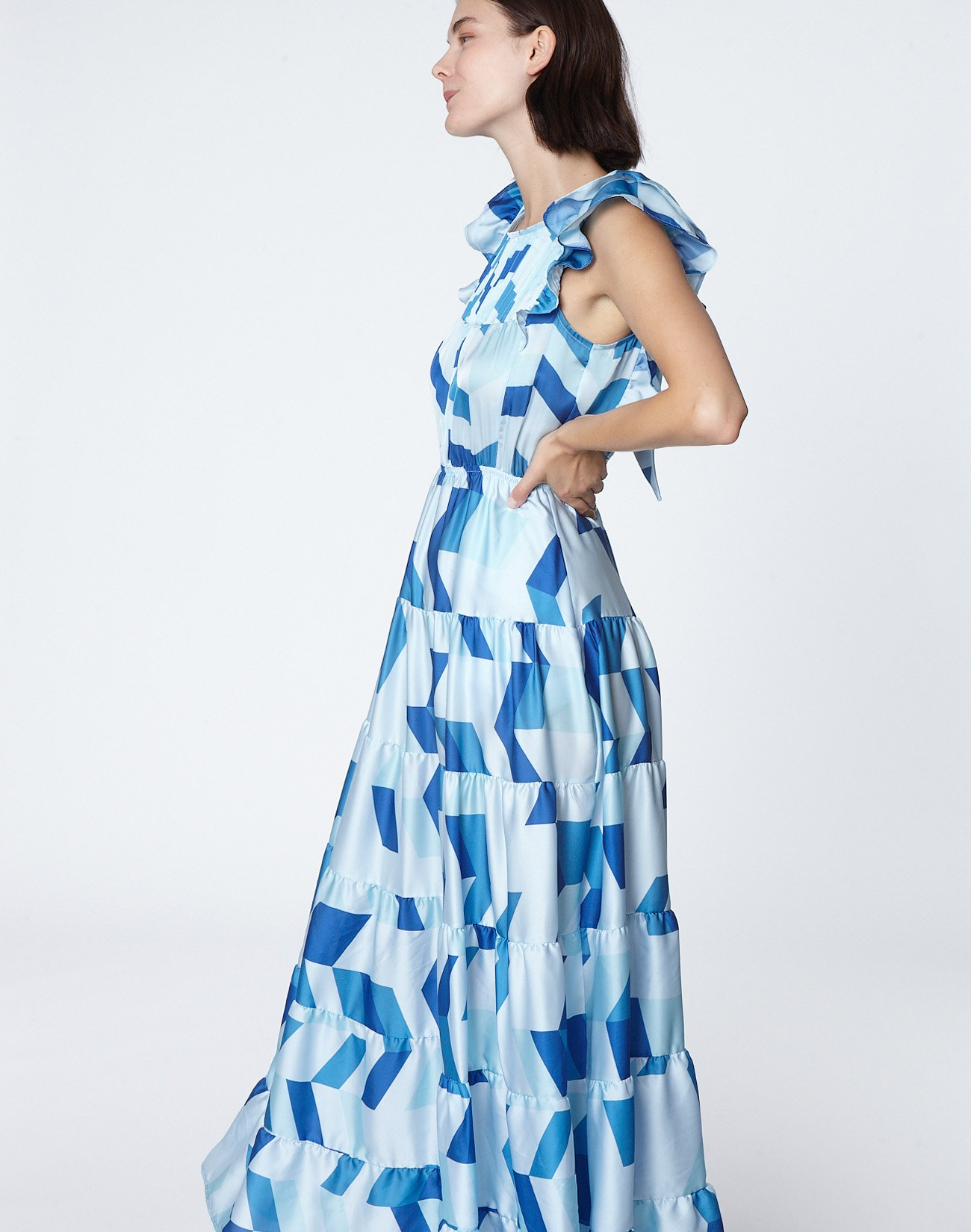 Maxi printed dress with bow