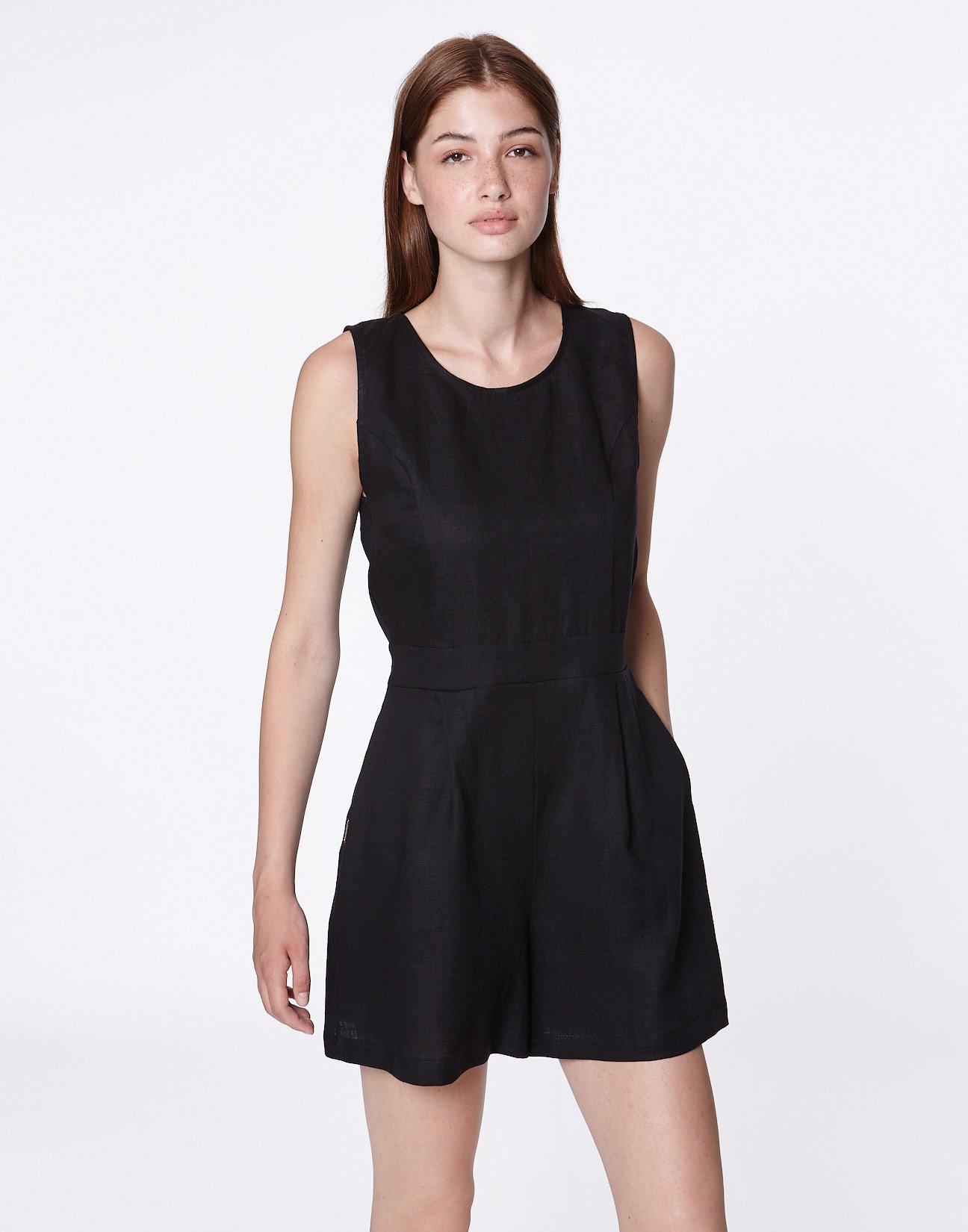 Linen jumpsuit shorts