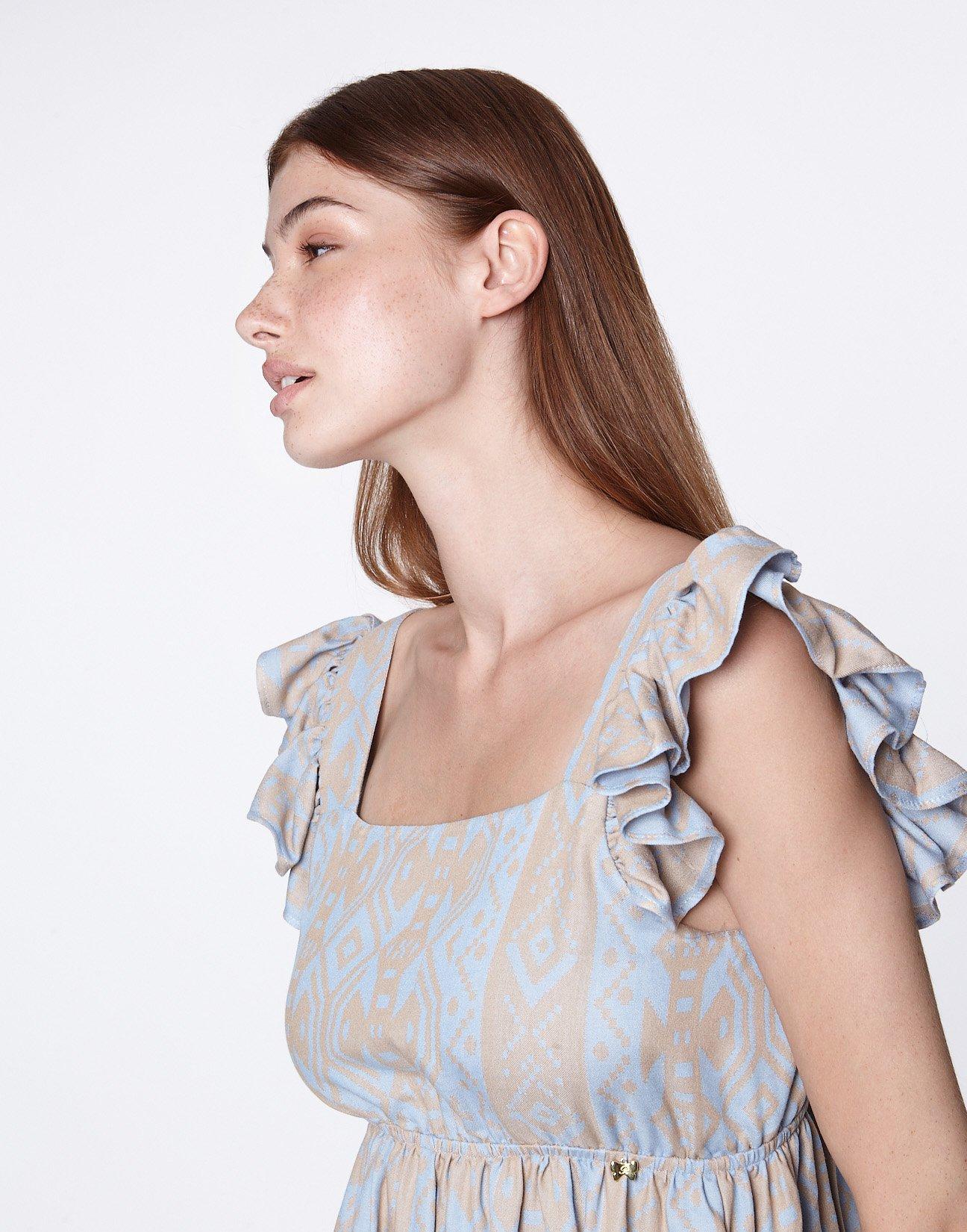 Mini jacquard check dress with bow
