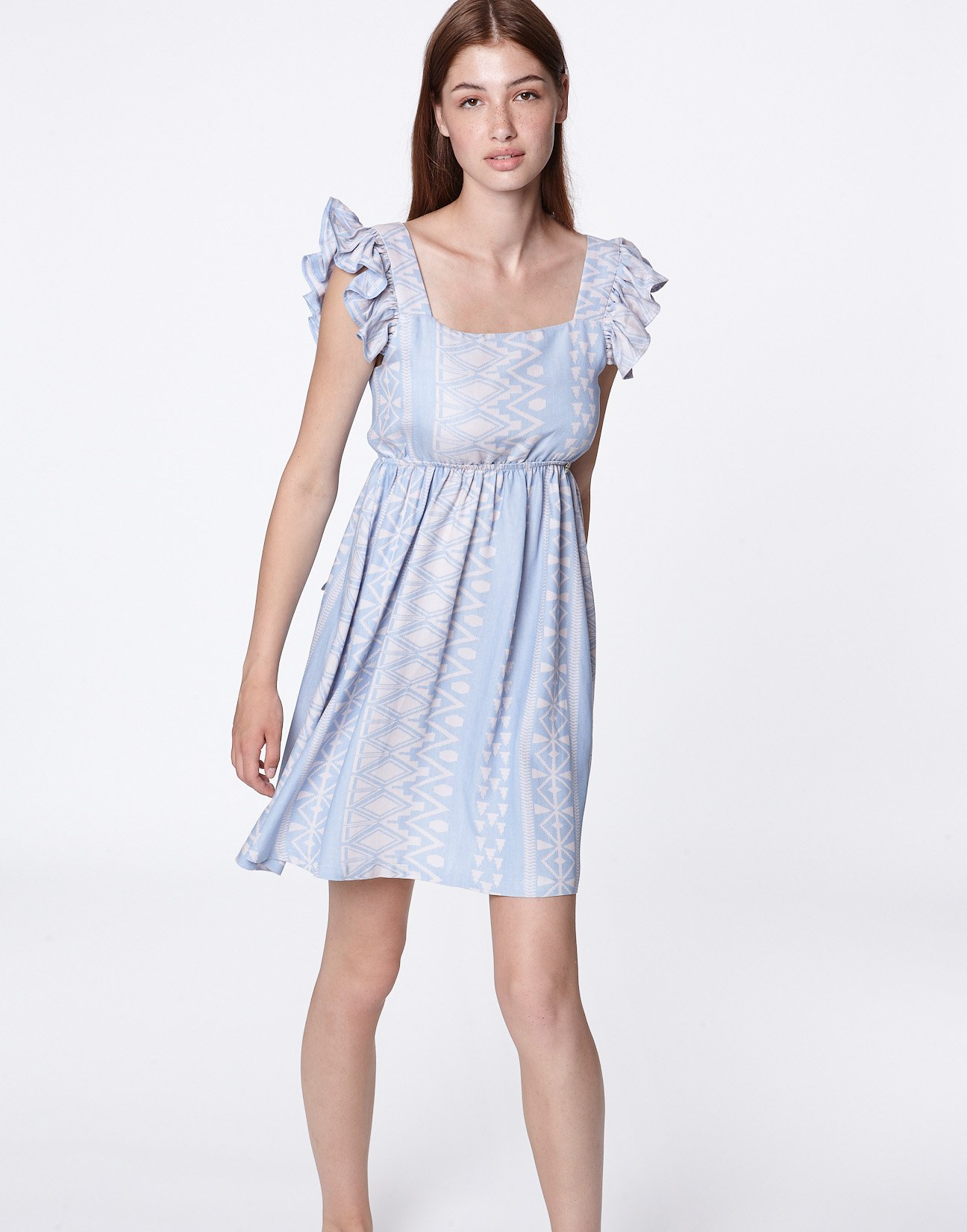 Jacquard dress with bow