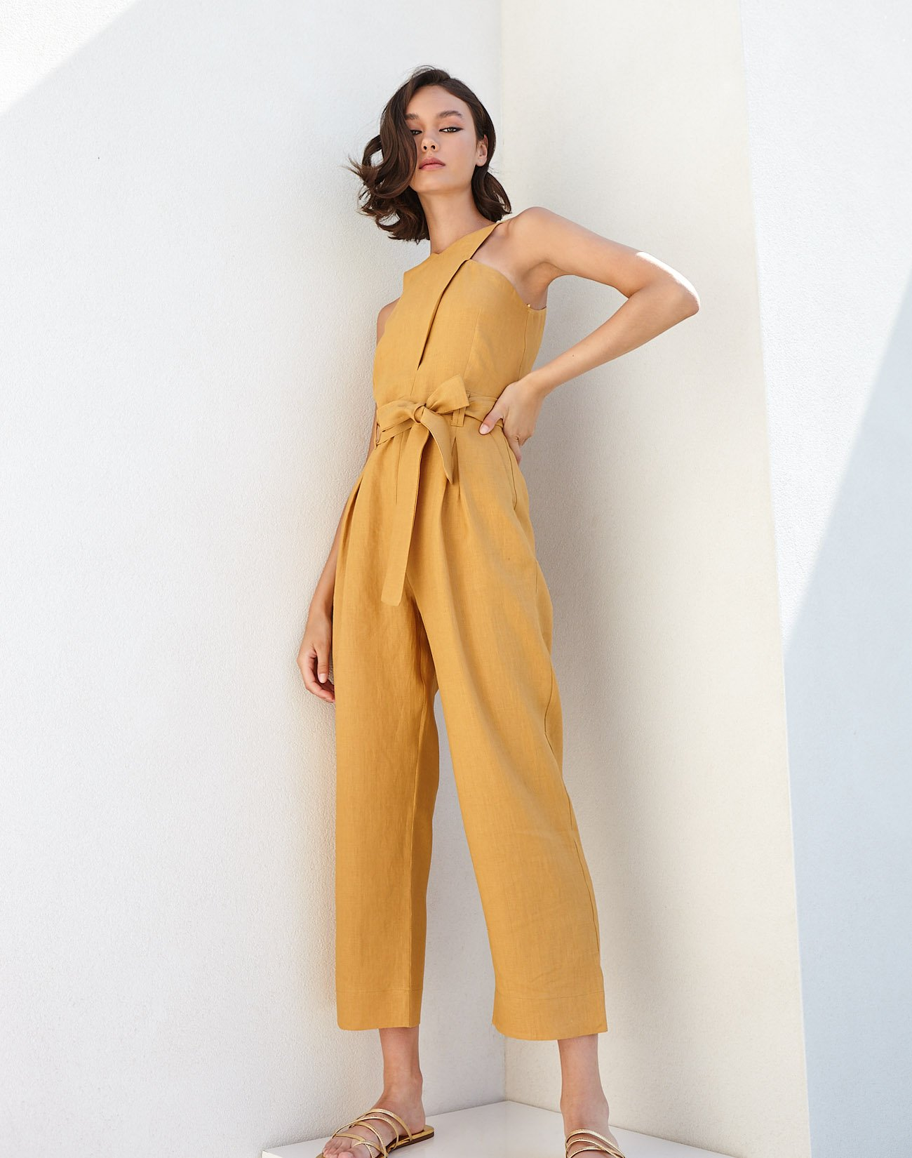 Linen jumpsuit with crossover detail