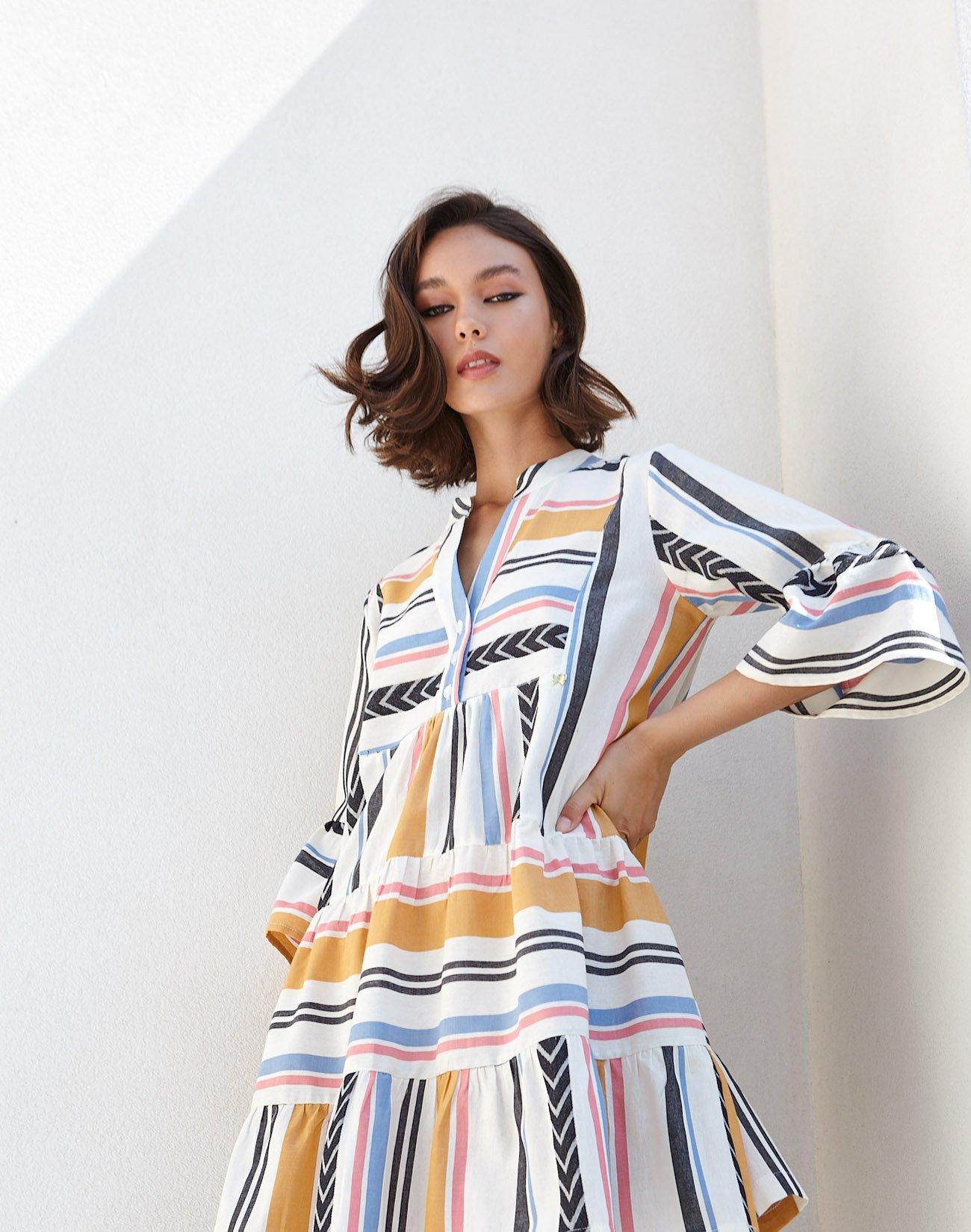 Mini striped kaftan dress
