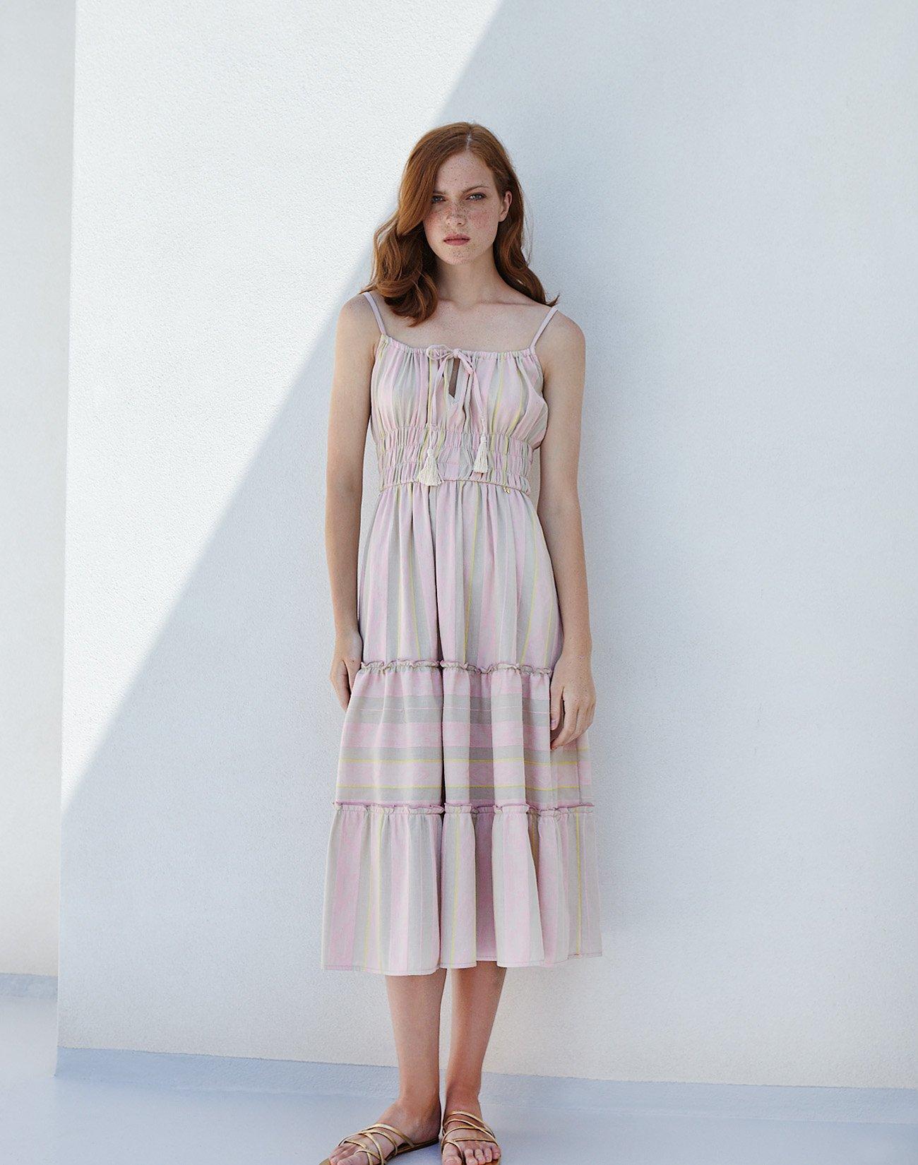 Μίντι φόρεμα ζακάρ