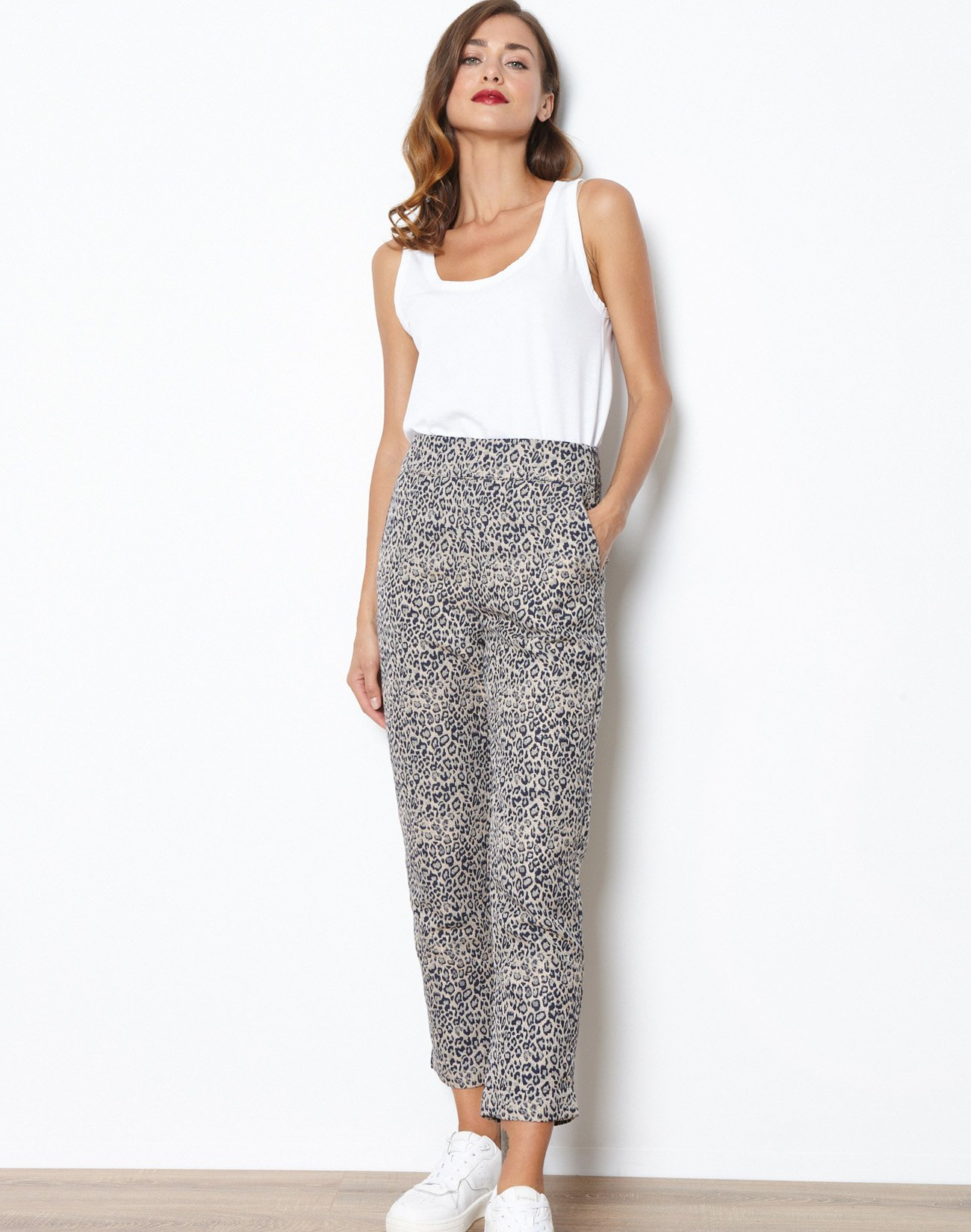 Jacquard animal print trousers