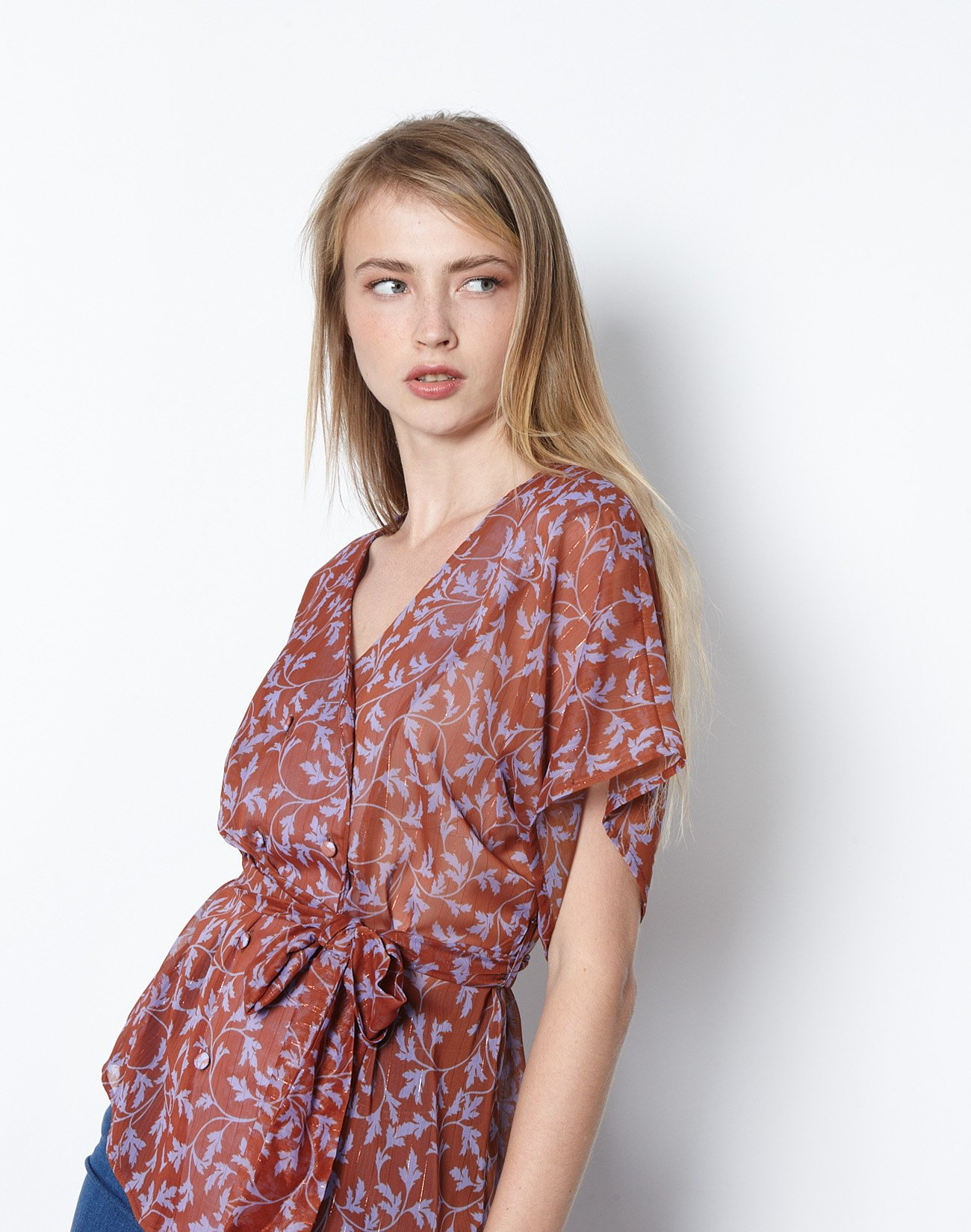 Printed wrap dress with buttons