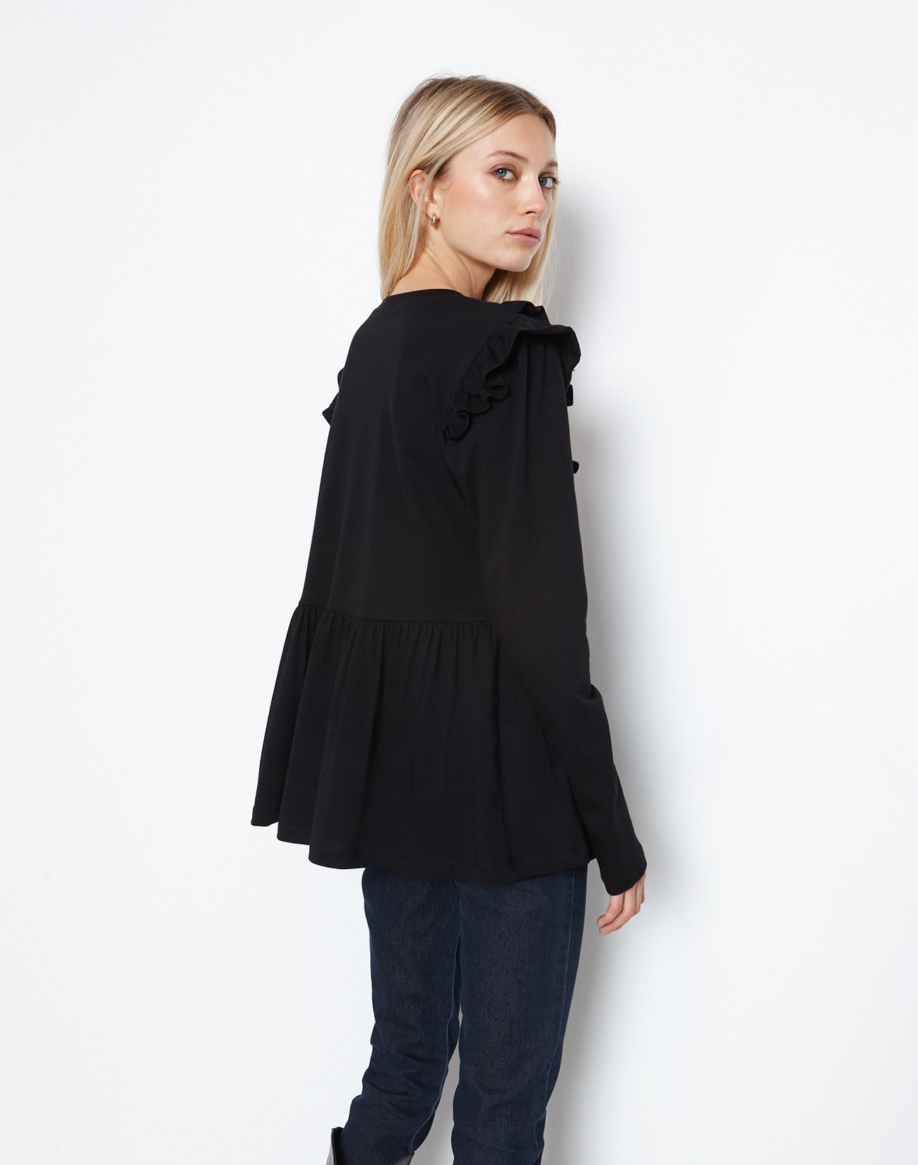 Organic cotton top with double ruffles