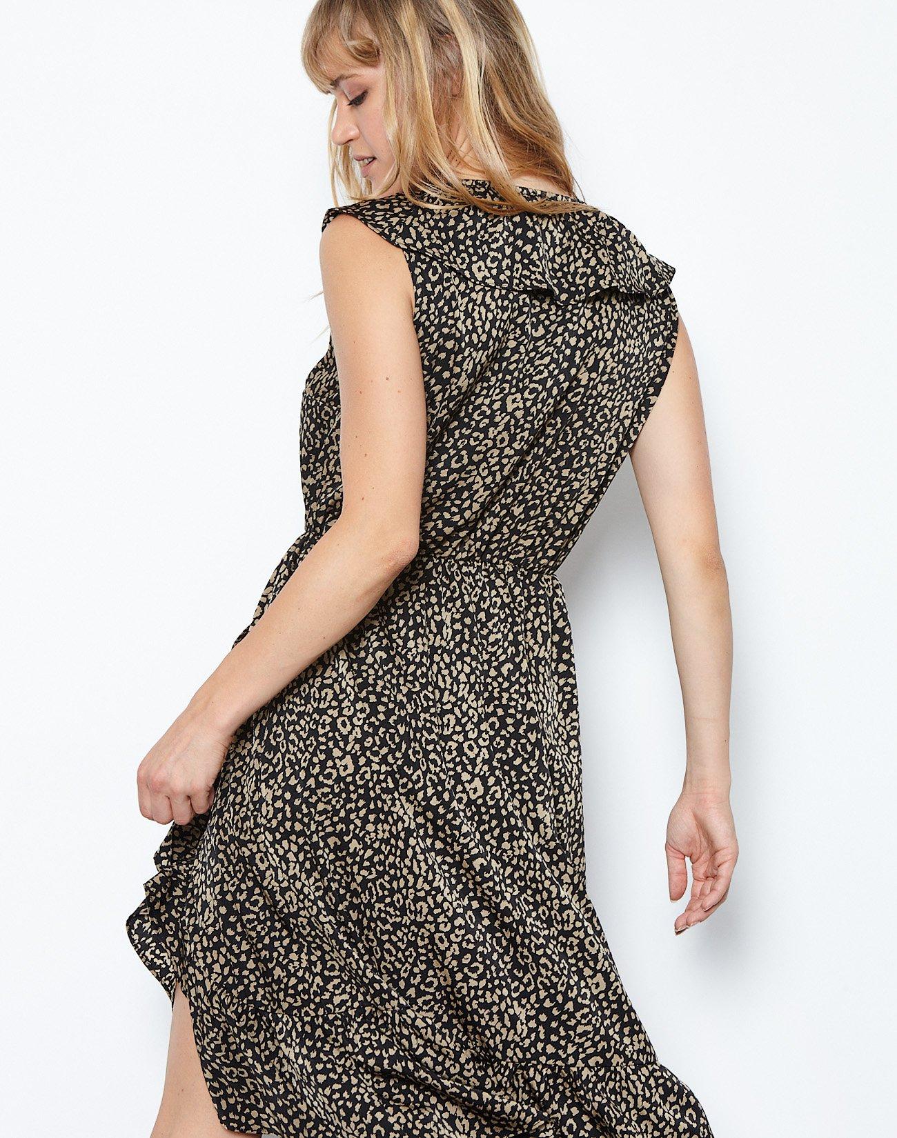 Εμπριμέ μίντι φόρεμα με βολάν