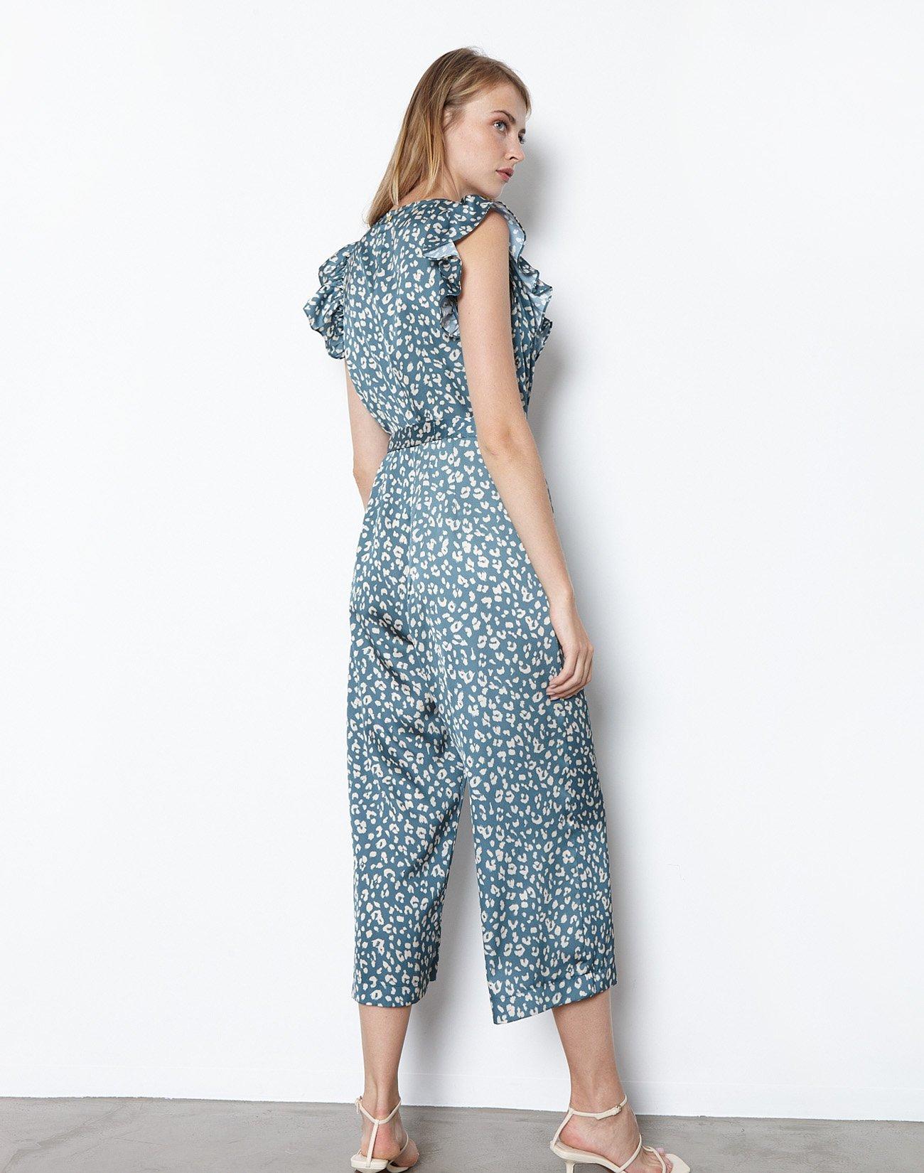 Printed jumpsuit with golden zip