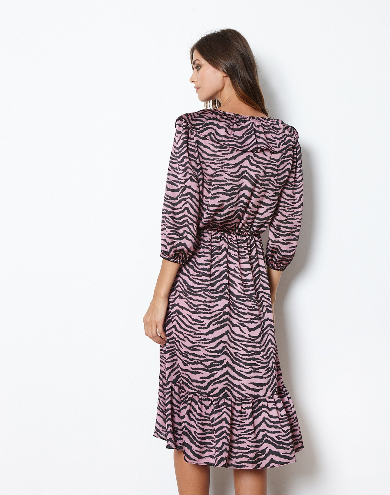 Animal print  dress with ruffles
