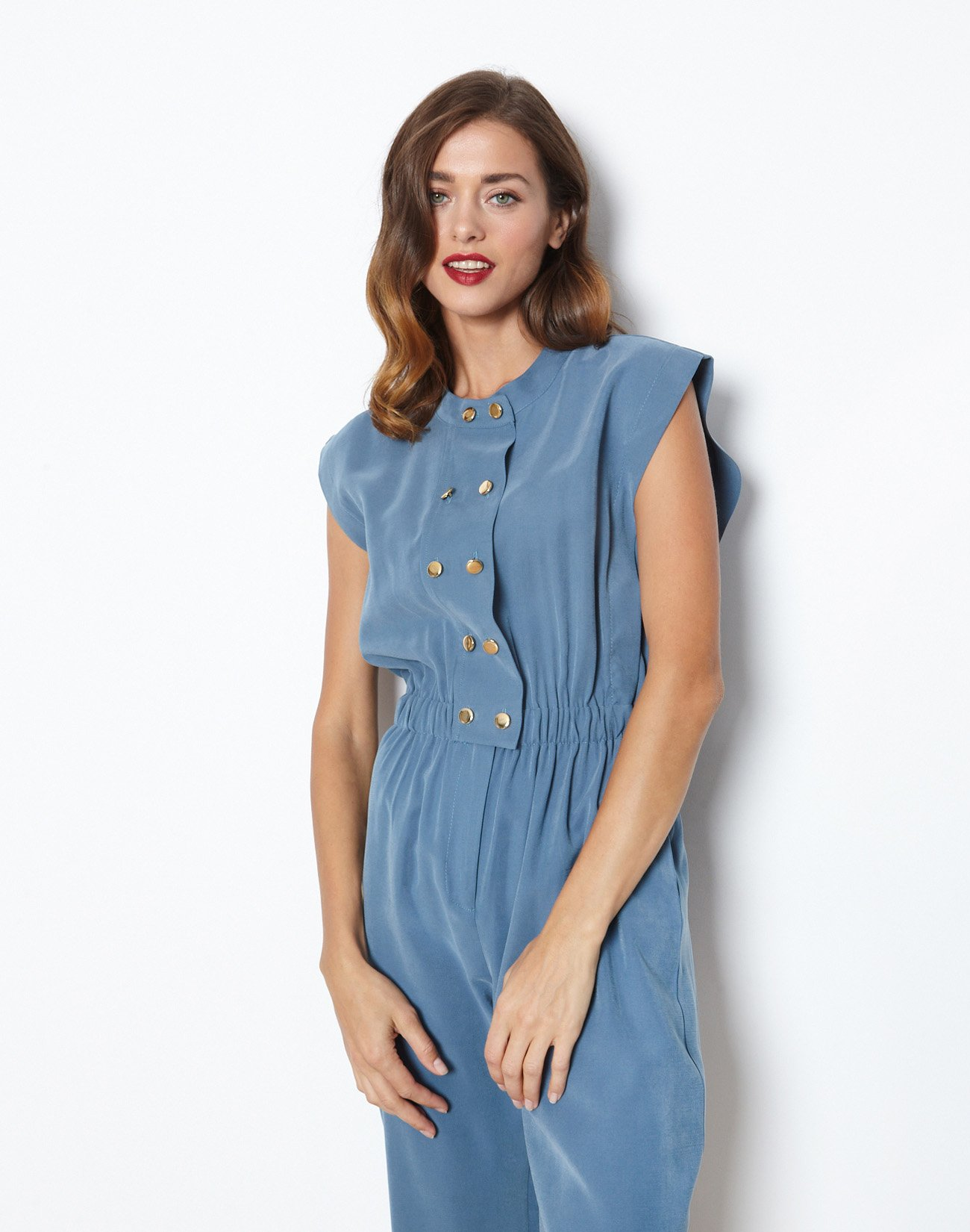 Jumpsuit with golden buttons
