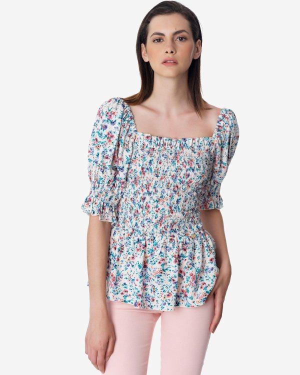 Floral top with puff shoulders