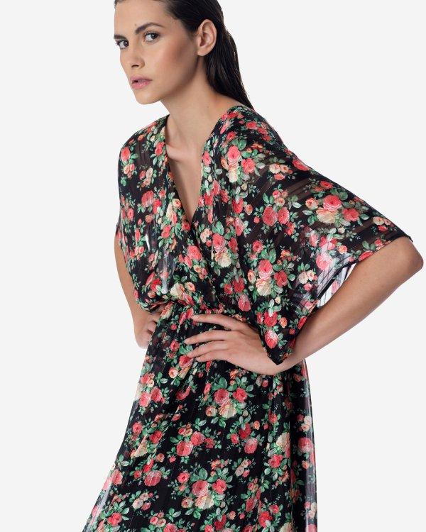 Μάξι λουλουδάτο κρουαζέ φόρεμα