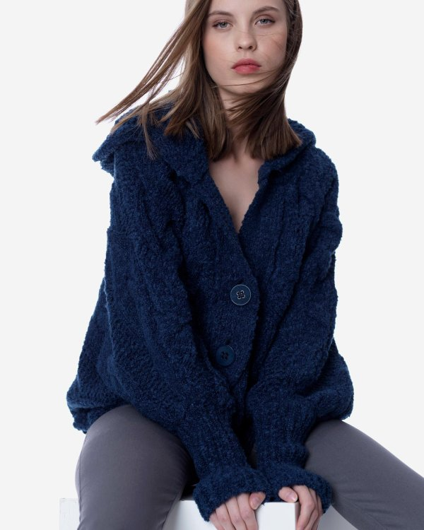 Hooded knit cardigan