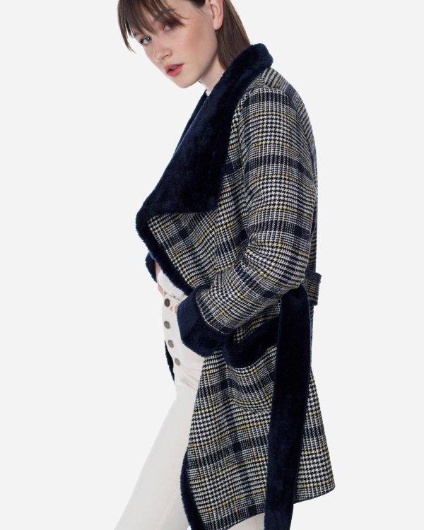 Καρό παλτό με τσέπες