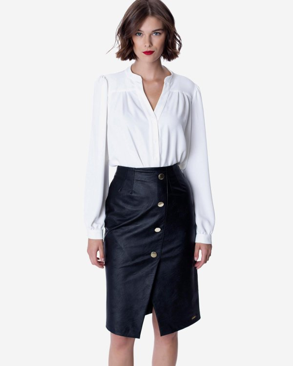 Faux leather skirt with buttons