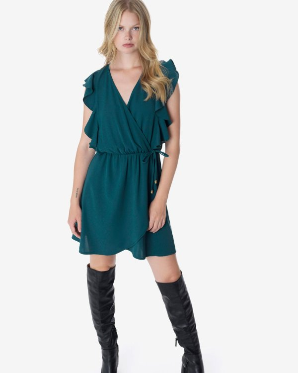 Wrap dress with ruffles