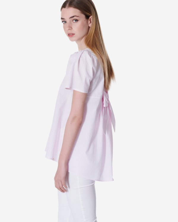 Striped organic cotton top with bow