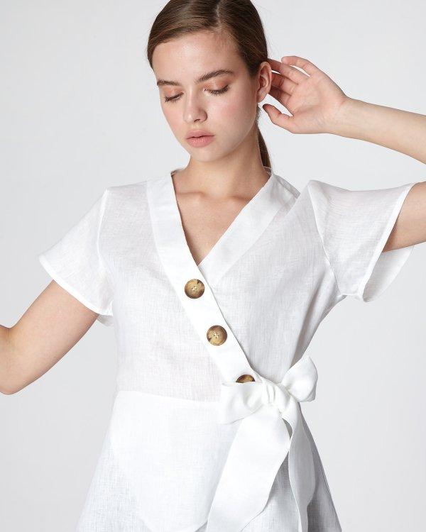 Λινή κρουαζέ μπλούζα με κουμπιά