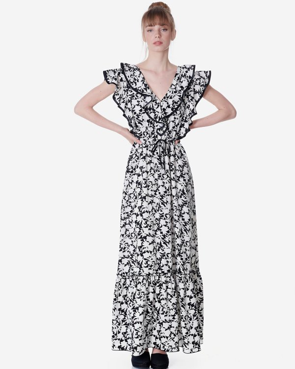 Εμπριμέ μάξι φόρεμα με βολάν