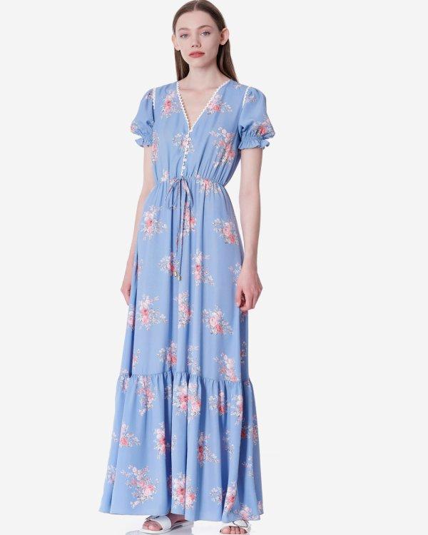 Εμπριμέ μάξι φόρεμα με δαντέλα