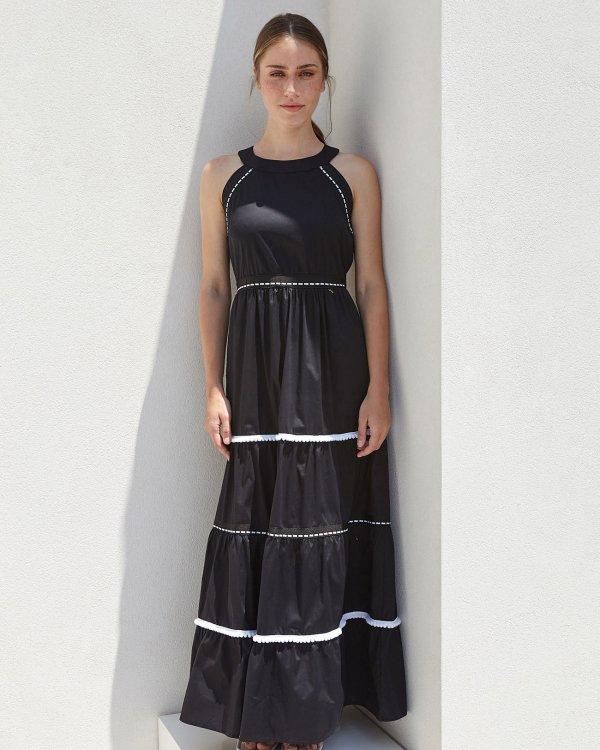 Maxi dress with pom poms