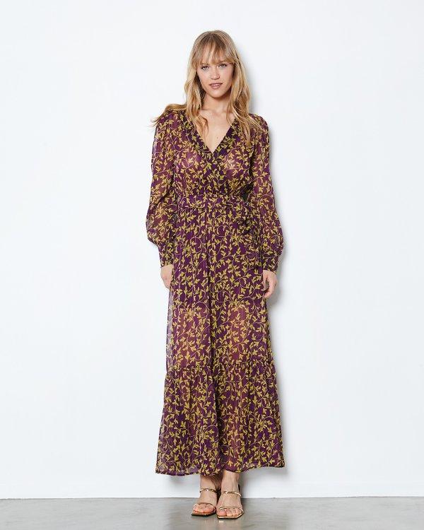 Printed maxi wrap dress