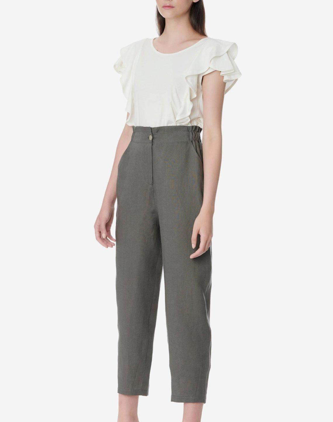 Ψηλόμεσο λινό παντελόνι