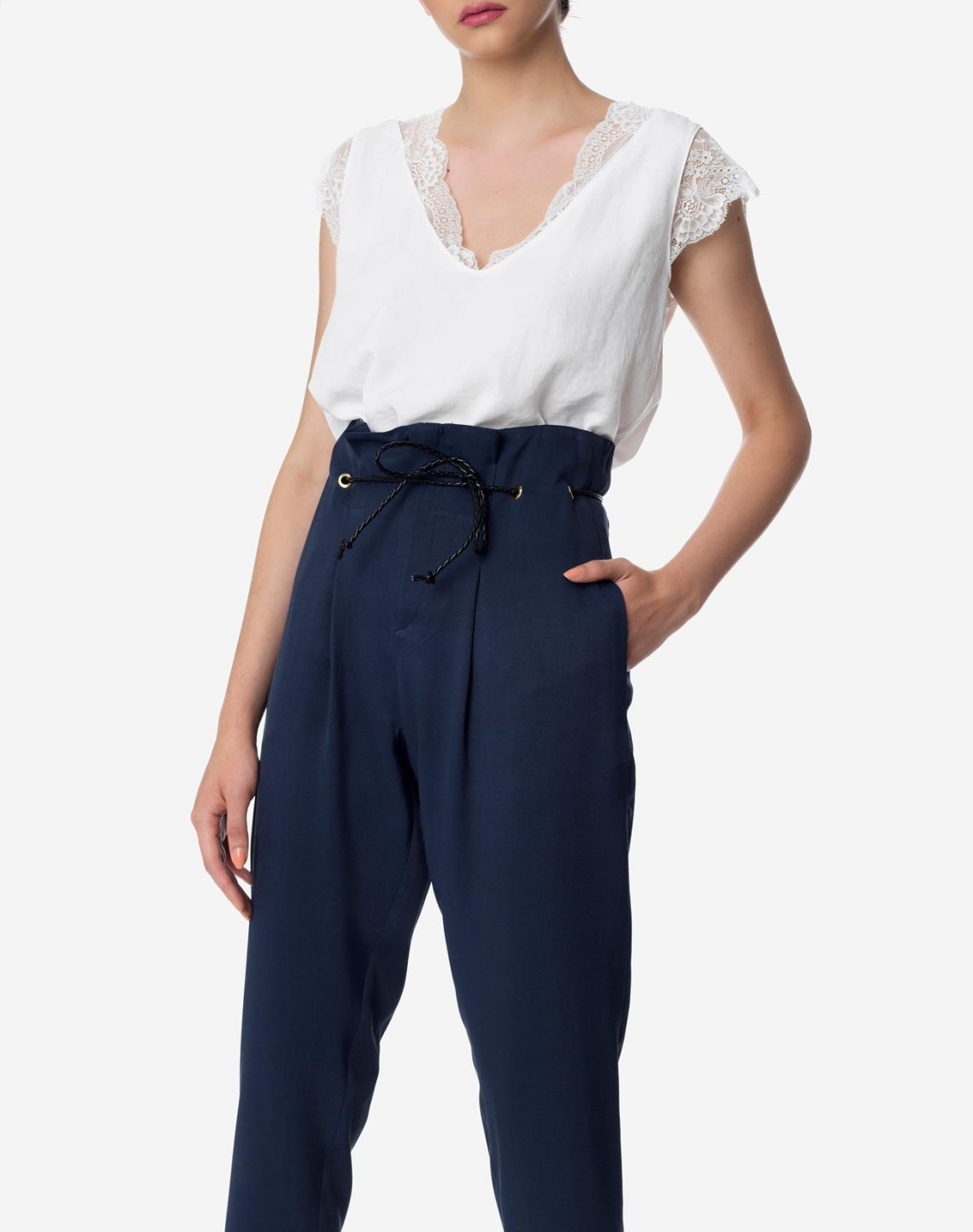 High-waist paperbag trousers