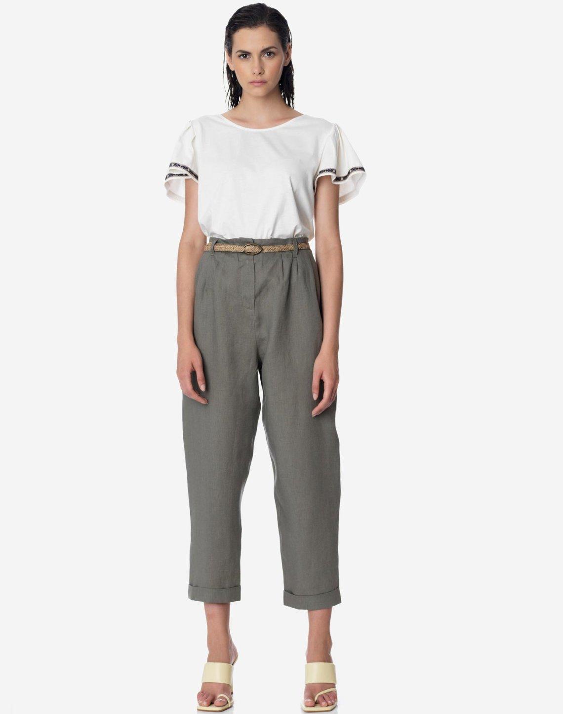 Ψηλομέσο λινό φαρδύ παντελόνι