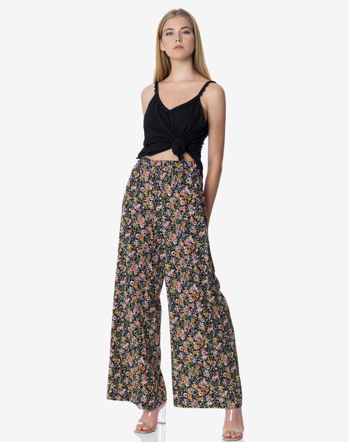 Φλοράλ παντελόνα με λάστιχο στη μέση
